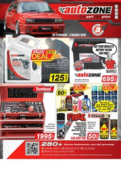 AutoZone deals in the Johannesburg special
