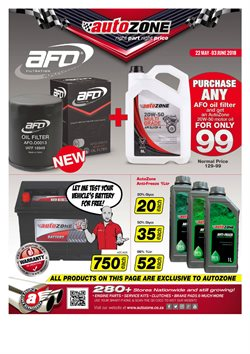 Cars, motorcycles & spares offers in the AutoZone catalogue in Cape Town