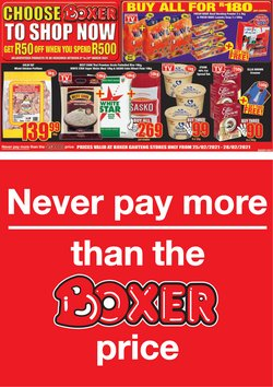 Groceries offers in the Boxer catalogue in Roodepoort ( Expires today )