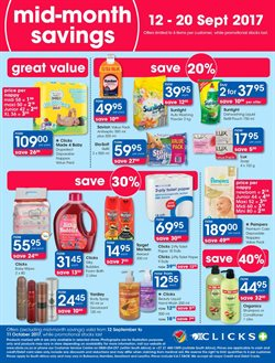 Diapers offers in the Clicks catalogue in East London