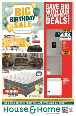 Home & Furniture offers in the House & Home catalogue in Benoni ( 1 day ago )