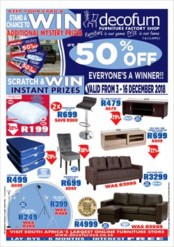 Decofurn Factory Shop deals in the Johannesburg special