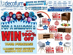 Decofurn Factory Shop deals in the Edenvale special