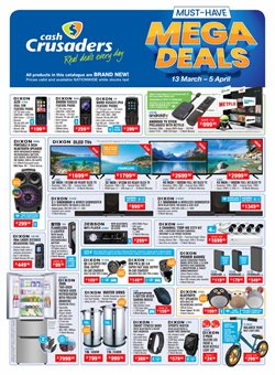 Electronics & Home Appliances offers in the Cash Crusaders catalogue in Boksburg ( Expires tomorrow )