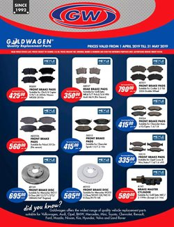 Brakes offers in the Goldwagen catalogue in Cape Town