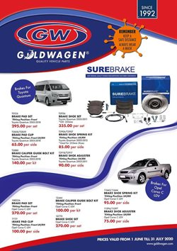 Cars, Motorcycles & Spares offers in the Goldwagen catalogue ( 22 days left )
