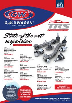 Cars, Motorcycles & Spares offers in the Goldwagen catalogue in Pietermaritzburg ( 4 days left )