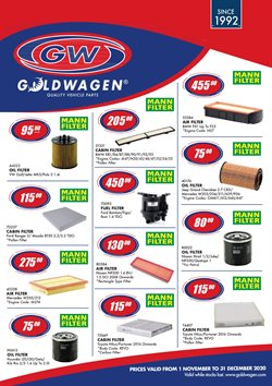 Goldwagen catalogue in Cape Town ( More than a month )