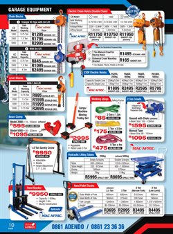 Table specials in Adendorff Machinery Mart