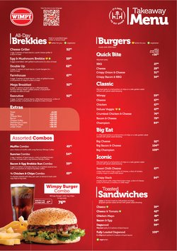 Restaurants offers in the Wimpy catalogue ( More than a month)