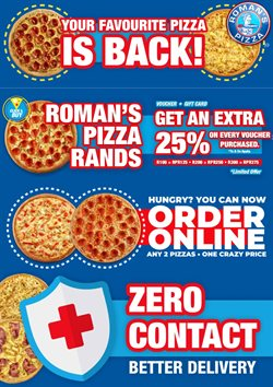 Restaurants offers in the Roman's Pizza catalogue in Roodepoort ( More than a month )