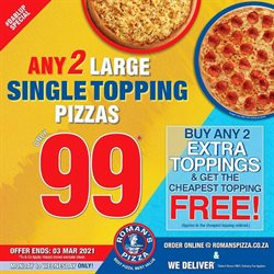 Restaurants offers in the Roman's Pizza catalogue in Pretoria ( 2 days ago )