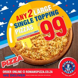 Restaurants offers in the Roman's Pizza catalogue in Johannesburg ( 3 days left )