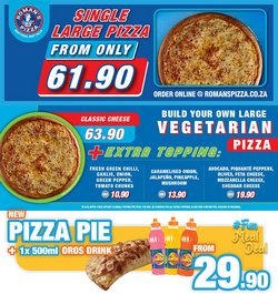 Restaurants offers in the Roman's Pizza catalogue ( Expires today)