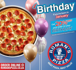 Roman's Pizza coupon in Cape Town ( 15 days left )