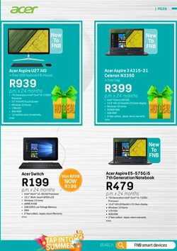 Acer offers in the FNB catalogue in Cape Town
