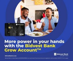 Banks & Insurances offers in the Bidvest Bank catalogue ( 30 days left)