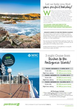 Flights offers in the Pentravel catalogue in Cape Town
