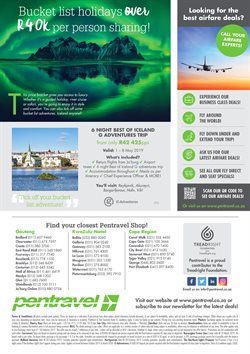 Tours offers in the Pentravel catalogue in Cape Town