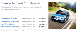 British Airways deals in the Cape Town special