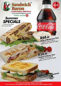 Restaurants offers in the Sandwich Baron catalogue in Pretoria ( 11 days left )
