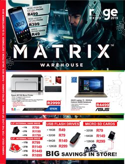 Matrix Warehouse deals in the Johannesburg special