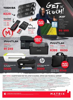 Sandisk offers in the Matrix Warehouse catalogue in Cape Town