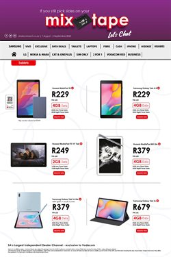 Tablet specials in Chatz Connect