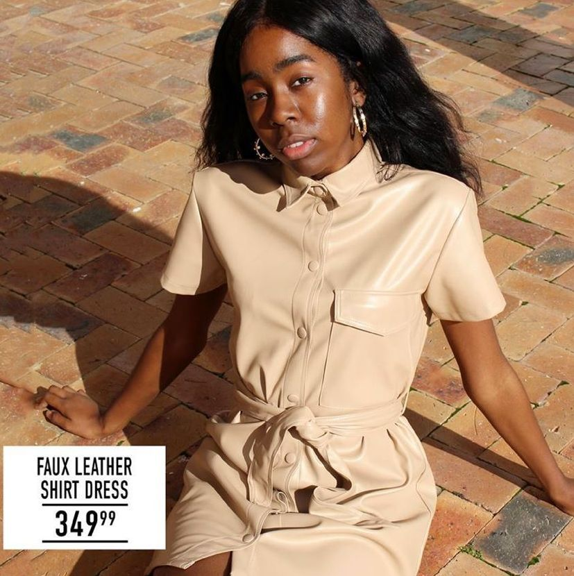 Faux Leather Shirt Dress offer at R 349,99
