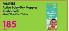 Pampers Active Baby-Dry Nappies Jumbo Pack offer at R 185