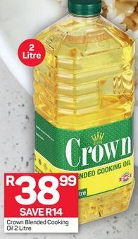 Crown Blended Cooking Oil offer at R 38,99