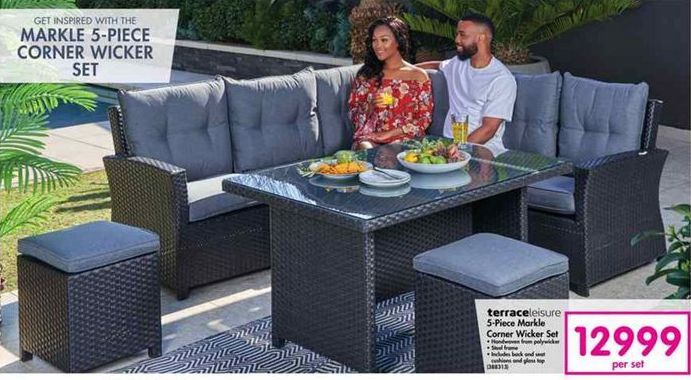 TerraceLeisure 5-Piece Markle Corner Wicker Set offer at R 12999