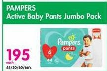 Pampers Active Baby Disposable Nappies Jumbo Pack offer at R 195