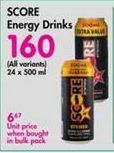 Score Energy Drink offer at R 160
