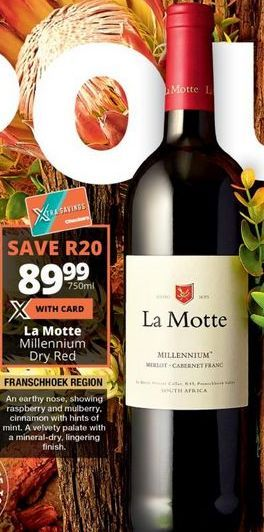 La Motte Millennium Dry Red offer at R 89,99