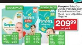 Pampers Baby-Dry Jumbo Pack Nappies / Pants / Premium Care Value Pack Disposable Nappies offer at R 209,99