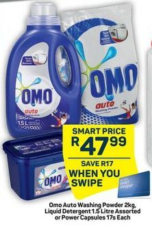 Omo Auto Washing Powder, Liquid Detergent or Power Capsules offers at R 47,99