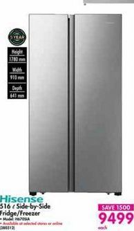 Hisense Side-by-Side Fridge / Freezer offer at R 9499