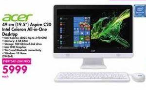 Acer 19.5'' Aspire C20 Intel Celeron All-in-One Desktop offer at R 5999