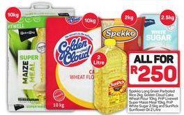 Spekko Rice, Golden Cloud Cake Wheat Flour, PnP Livewell Super Maize Meal, PnP White Sugar and SunPick Sunflower Oil offer at R 250