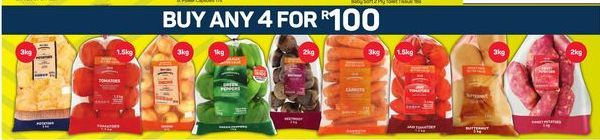 Potatoes / Onions / Carrots / Butternut / Tomatoes / Sweet Potatoes / Beetroot 4 offers at R 100