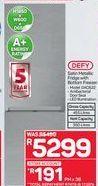 Defy Satin Metallic Fridge with Bottom Freezer offer at R 5299