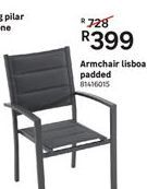 Armchair lisboa padded offer at R 399