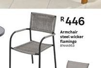Armchair steel wicker flamingo offer at R 446