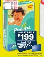 Pampers New or Active Baby Disposable Nappies Jumbo Pack offer at R 199