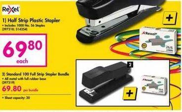 Rexel Half Strip Plastic Stapler offer at R 69,8
