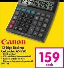 Canon 12-Digit Desktop Calculator AS-220 offer at R 159