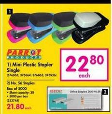 Parrot Products Mini Plastic Stapler Single offer at R 22,8