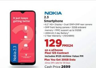 Nokia 2.3 Smartphone offer at R 129