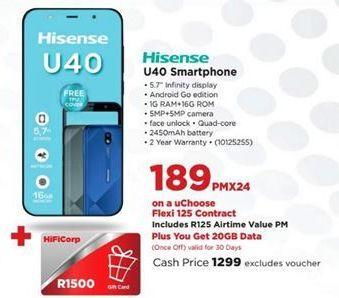 Hisense U40 Lite Smartphone offer at R 189